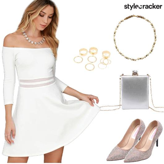 OffShoulder Dress BoxClutch - StyleCracker
