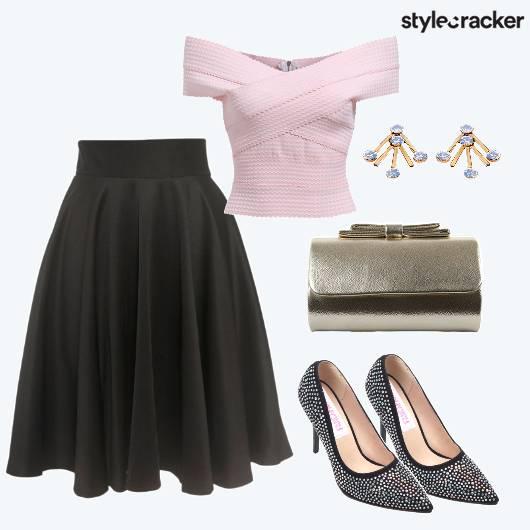 Offshoulder Flared Skirt Pumps Date  - StyleCracker