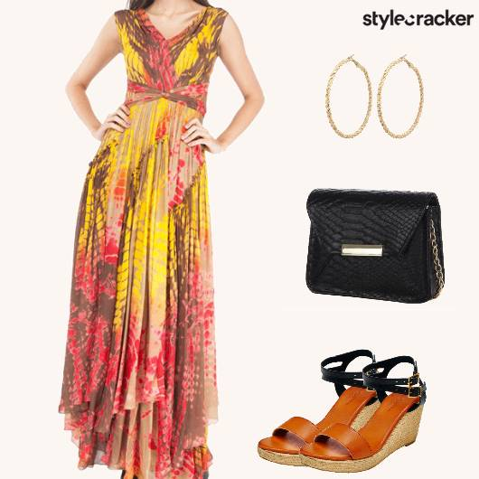DrapedMaxiDress WedgedHeels  - StyleCracker