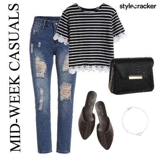 DistressedDenim Stripes Causal  - StyleCracker