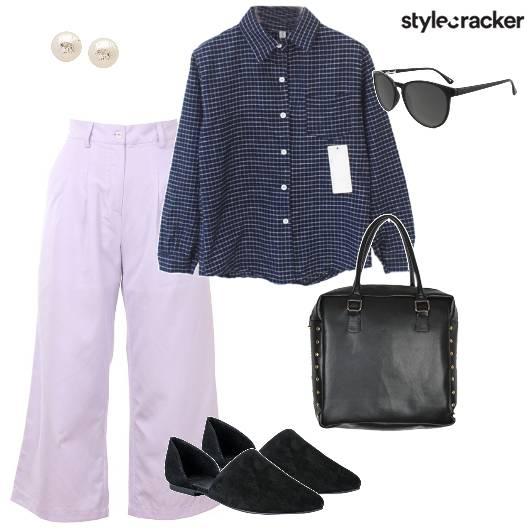 Checkedshirt Flaredpants Handbag Work - StyleCracker