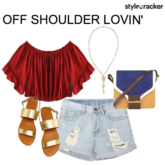 OffShoulder Casual Fun StrappyFlats  - StyleCracker