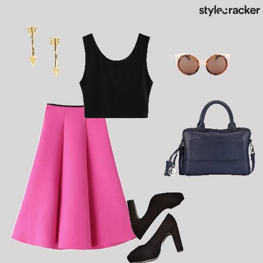 CropTop Skirt Peeptoes Handbag Brunch - StyleCracker