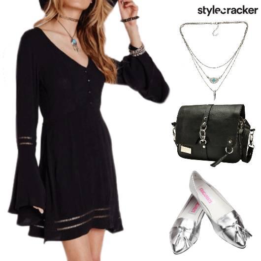Casual BellSleeves Dress StatementShoes - StyleCracker