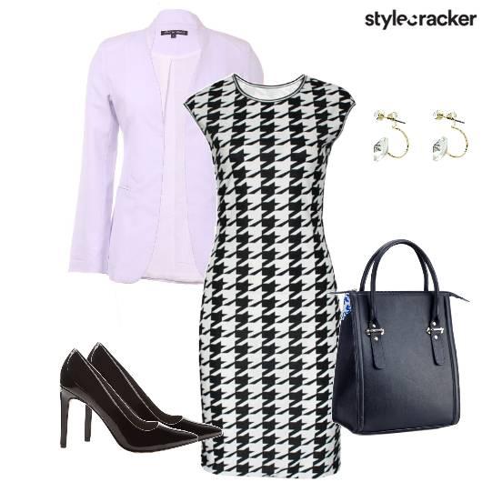 Houndstooth Dress Blazer Handbag Work AmtoPm - StyleCracker
