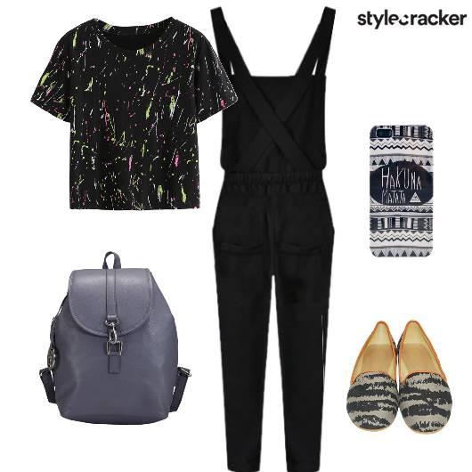 Casual College GraphicTee Dungarees - StyleCracker