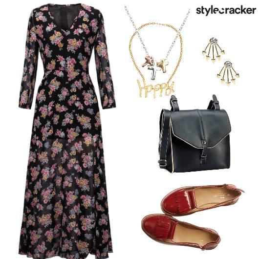 PrintedMaxiDress Brogues Backpack  - StyleCracker
