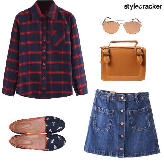 Casual PlaidsShirt DenimSkirt - StyleCracker