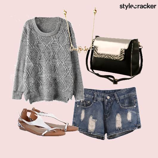 Sweater Denim Shorts Casual - StyleCracker