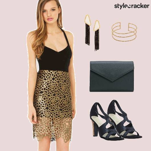 Gold Black Party Dress  - StyleCracker