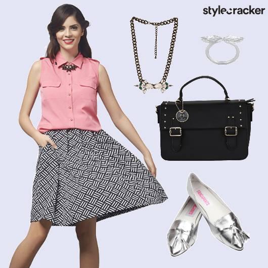 Skirt Top Metallic Footwear Casual Day Wear - StyleCracker