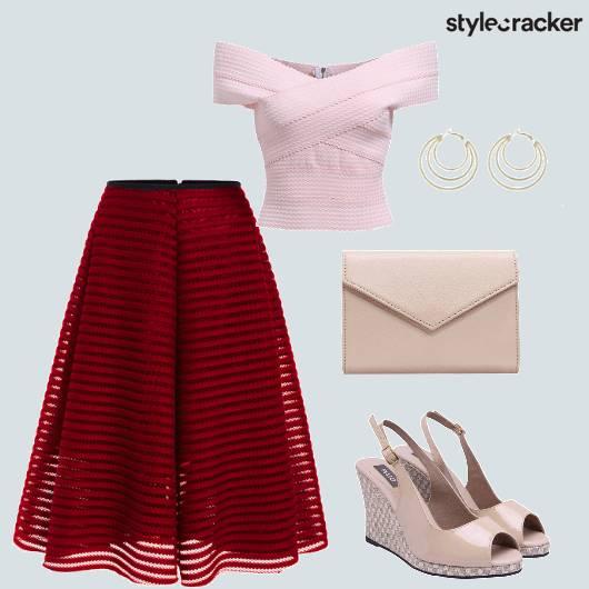 Offshoulder Top Midi Skirt Wedges Brunch - StyleCracker