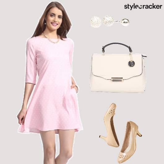 Pink Dress Casual Polka  - StyleCracker