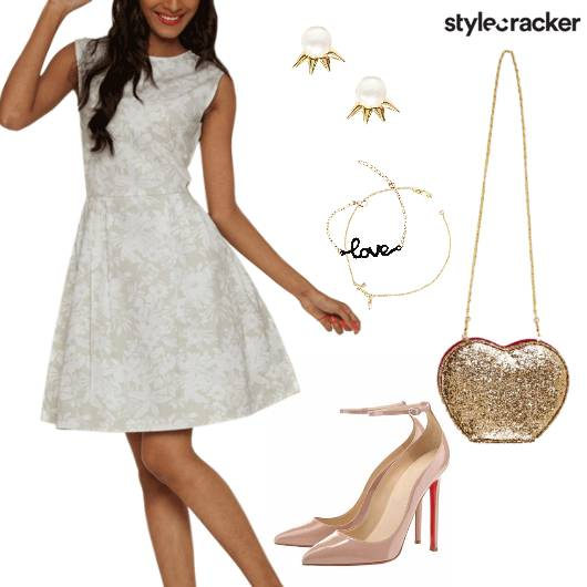 White Dress Dinner Date Glitterbag  - StyleCracker