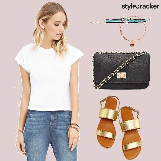 Basic Top Denims Gold Flats  - StyleCracker