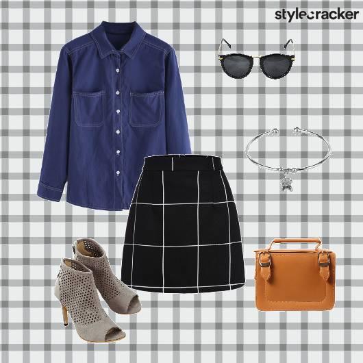 DenimShirt Skirt Satchel Heels Brunch - StyleCracker