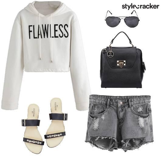 Casual College CropSweatshirt RippedShorts - StyleCracker