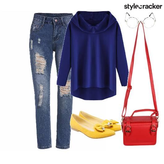 Sweatshirt Bag Shoes Denims Ripped - StyleCracker