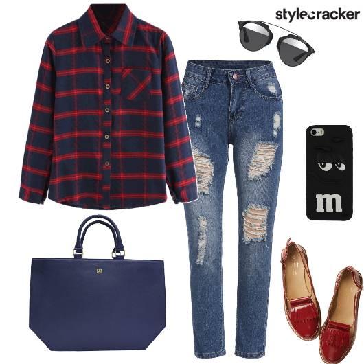 Casual College PlaidsShirt RippedDenim - StyleCracker