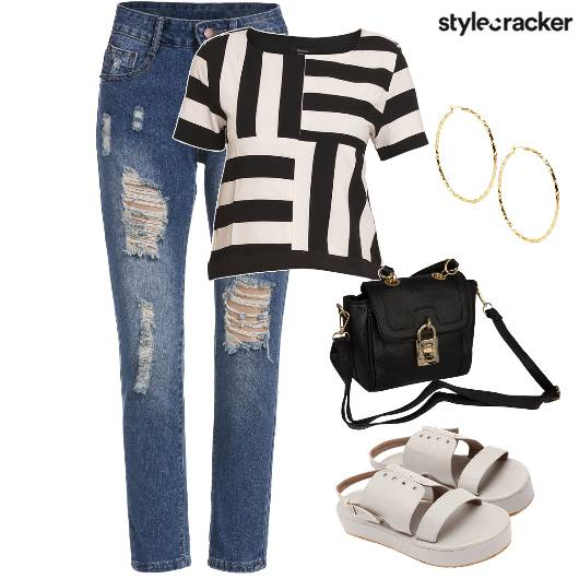RippedDenim Stripes Flatforms  - StyleCracker