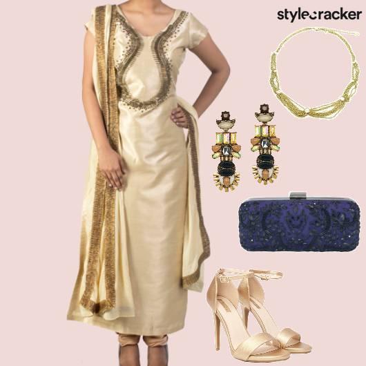 Gold ChuridarKurta Dupatta Clutch  - StyleCracker