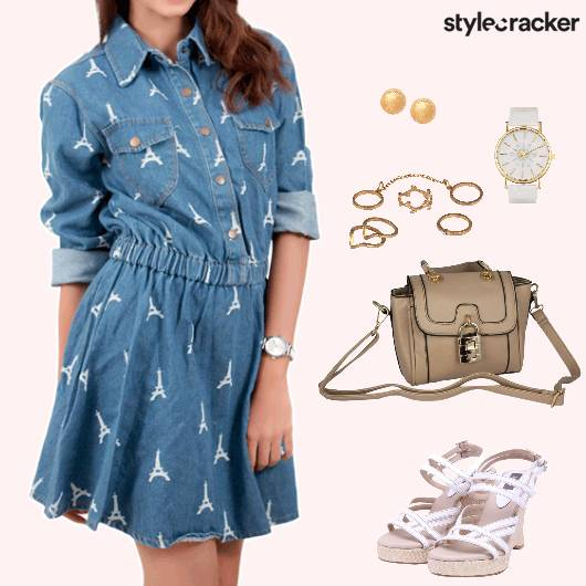Casual Printed DenimDress - StyleCracker