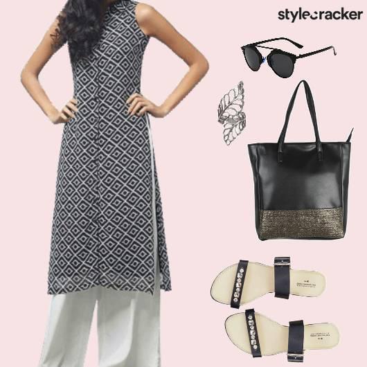 CasualIndian PrintedKurta PallazoPants WorkWear - StyleCracker