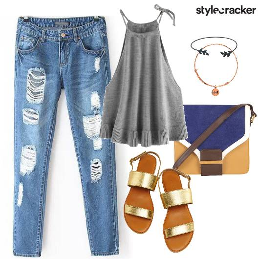 Ripped Jeans Cami Sling Flats Casual - StyleCracker