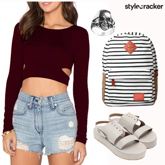 Cutout Croptop Ripped Shorts Backpack College Casuals - StyleCracker