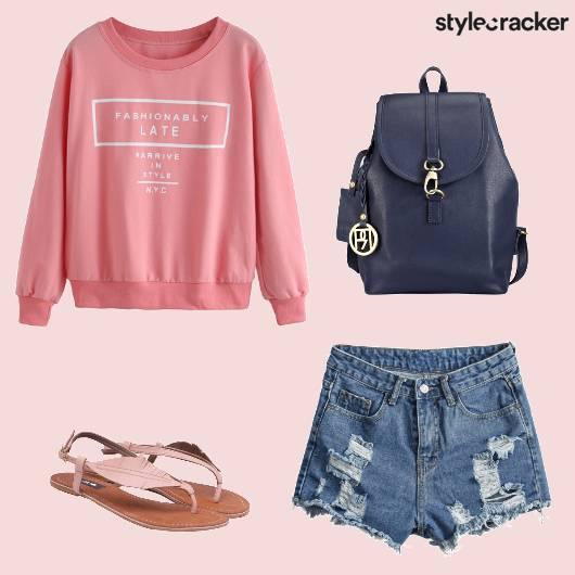 Casual College SweatShirt RippedShorts - StyleCracker