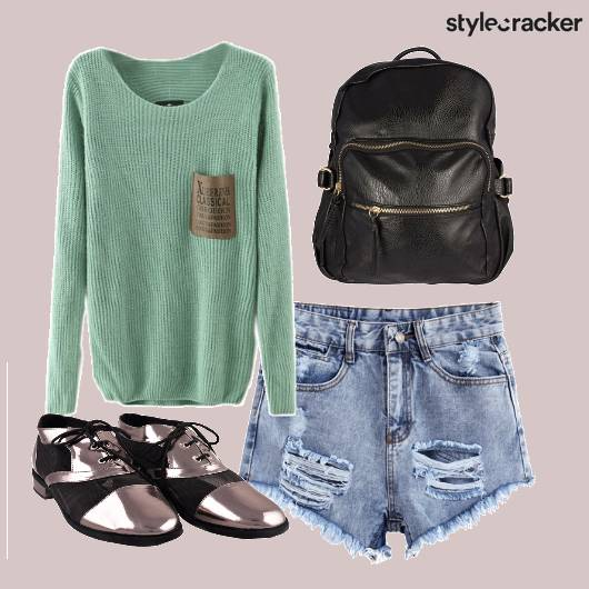 Ripped Shorts Sweater Backpack Shoes - StyleCracker
