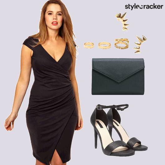 Wrap Dress Black Party Night - StyleCracker