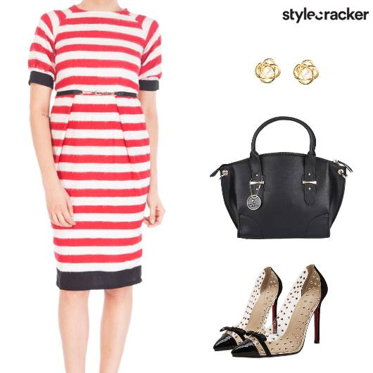 Formal StripedDress Handbag - StyleCracker