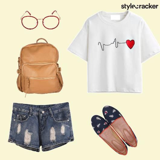 Casual College BasicTee RippedShorts - StyleCracker