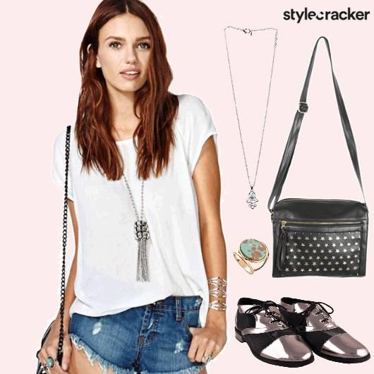 CafeCoffeeDay Basictee Rippedshorts Necklace Casual  - StyleCracker