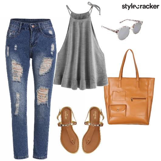 CafeCoffeeDay Ripped Jeans Camitop Tanflats Sunglasses  - StyleCracker