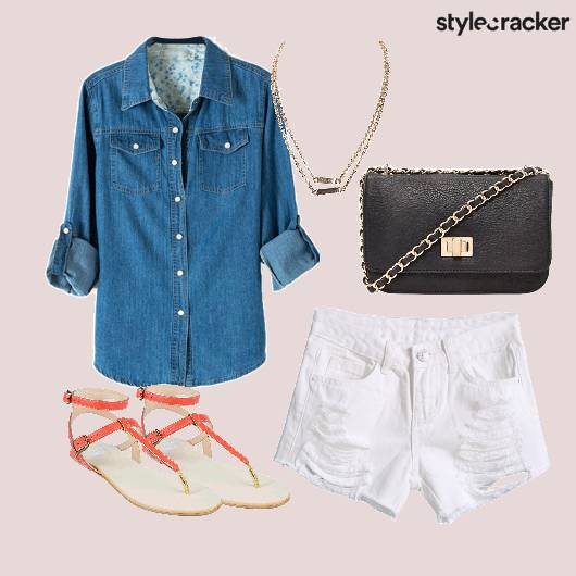 CafeCoffeeDay Denim Shirt Ripped Shorts  - StyleCracker