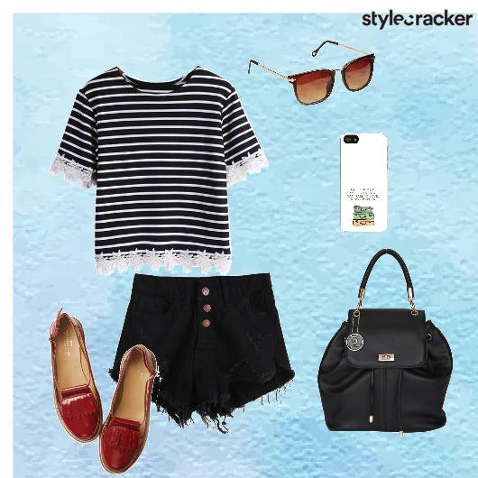 Stripedtop Shorts backpack Casual - StyleCracker