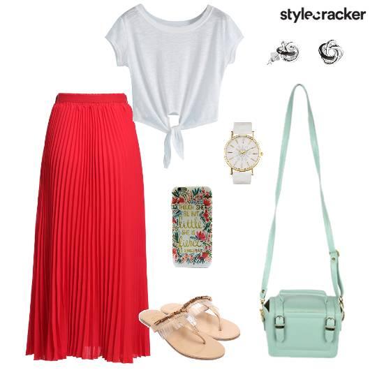 Maxiskirt Croptop Slingbag Casual - StyleCracker