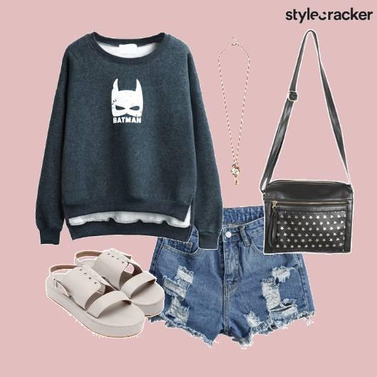 Sweatshirt Rippedshorts Necklace Casual - StyleCracker