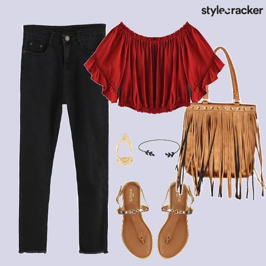 Offshouldertop Jeans Fringebag Flats - StyleCracker