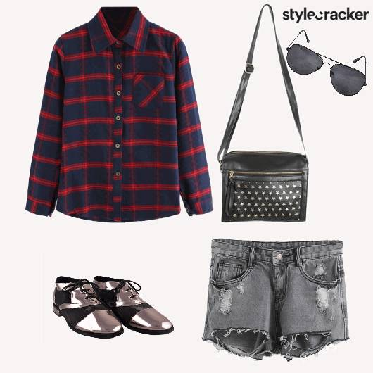 Casual DayWear PlaidsShirt RippedShorts - StyleCracker