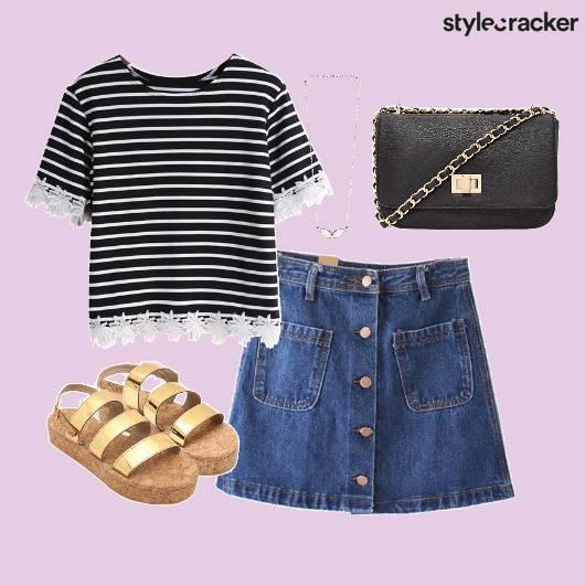 Striped Top Denim Skirt Necklace - StyleCracker