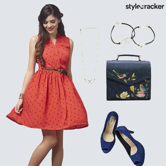 Red Dress Flare Casual Date  - StyleCracker
