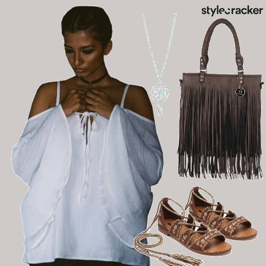 Fronttieup Top Beachvibes White Fringe  - StyleCracker