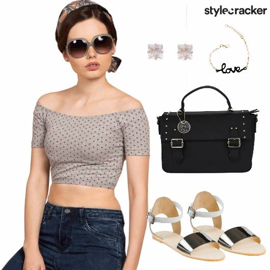 Offshoulder Dotted Top Casual  - StyleCracker