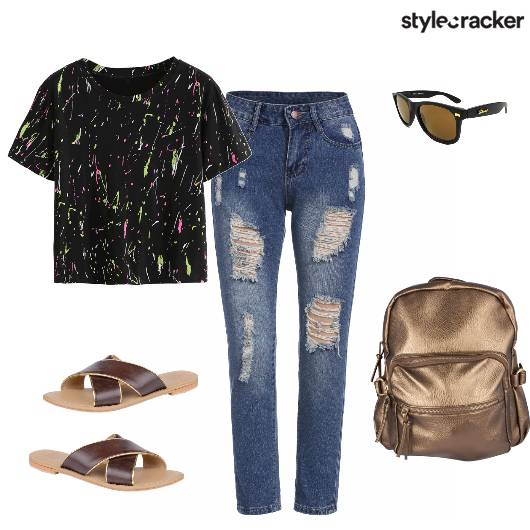 Casual College Ripped Printed - StyleCracker