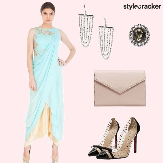 DhotiSaree Draped Earrings Heels Clutch - StyleCracker