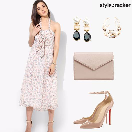 Floral Midi Dress Nude Pastels - StyleCracker