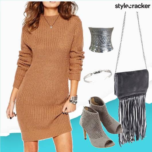 Sweaterdress Grey Heels Fringebag Cuffs - StyleCracker